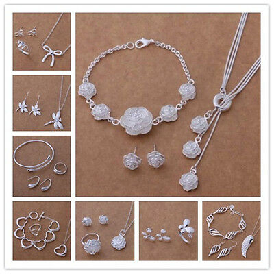 Women Solid 925 Silver Jewelry Bangle/Necklace/ Bracelet /Earring/Ring Set Gift