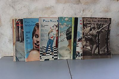 Lot anciens magazines Pour vous Madame - 1960 1961 - Mode - Old french magazine