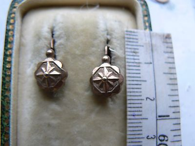 Pair Small Antique French  Star Design 18Ct Rolled Rose Gold Fix Earrings N