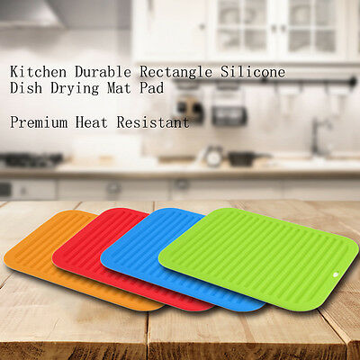 Kitchen Durable Rectangle Silicone Dish Drying Mat Pad Premium Heat Resistant UR