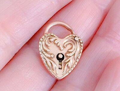 GORGEOUS RARE ORNATE 14Kt ROSE GOLD VICTORIAN HEART LOCK