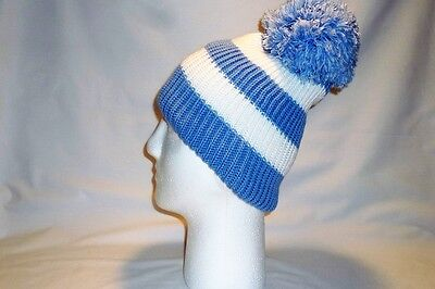 Luxury Skye Blue White Striped Bobble Hat Beanie Fleece Lined Mens Womens Golf