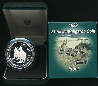 Australia: 1999 1oz .999 Silver $1 Kangaroo, Proof Cat $120 Cased.