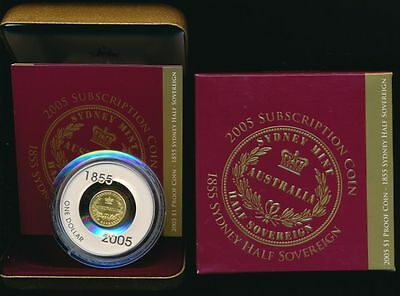 Australia: 2005 $1 nearly 2 oz Silver Sydney Half Sovereign proof, boxed