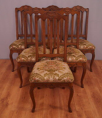1180 !! Impressive Oak Set Of 6 Chairs In Louis Xv Style  !!