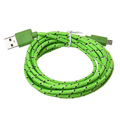 3M/10FT Micro USB Charger Sync Data Cable Cord for Cell Phone Lightgreen Green