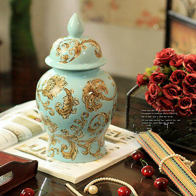 European Style Blue Height 28 CM Hand-Painted Ceramics Home Decoration Vase