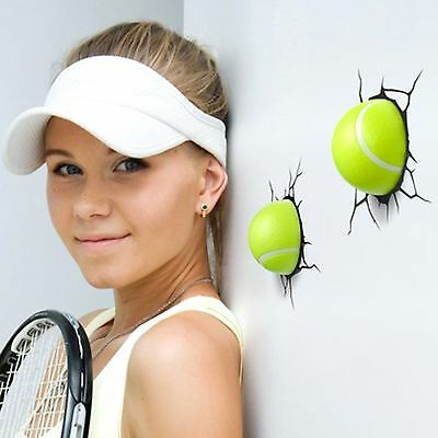 TENNIS BALL 3D LED WALL LIGHTS NEW x 2 BEDROOM DECOR LAMP