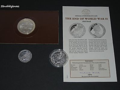 Hms Hood - One Silver Commemorative Medallion + Two Silver Commemorative Coins