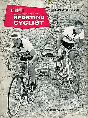 """""""Coureur, the Magazine for the Sporting Cyclist""""  edit J.B.Wadley September 1958"""