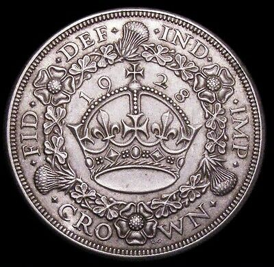 Rare Toned U.k. George V 1928 Wreath Crown In .500 Silver - Near Extremely Fine