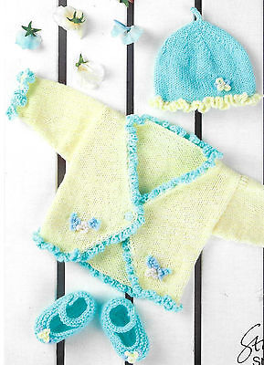 babys double knitting pattern for cardigan hat & shoes 16-24 inch