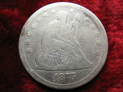 1875-P Seated Liberty Silver Quarter Dollar, HISTORIC COIN! Cleaned!
