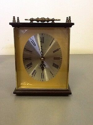 Made in Scotland Westclox  Wood/ Brass Mantle Clock