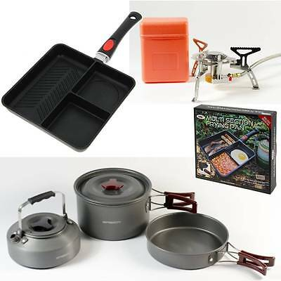 NGT Multi Section Frying Pan + Saber Fishing Gas Stove + 3pc Cook Set Camping