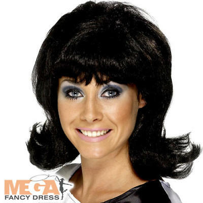 Black 60s Flick-Up Wig Ladies Fancy Dress 1960s Hairspray Costume Accessory New