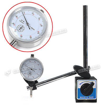 0.01mm Accurancy Dial Test Indicator DTI Guage & Magnetic Base Stand 0mm to 10mm