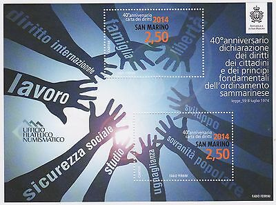 SAN MARINO 2014 Declaration of the Rights of the Citizen Sheetlet MNH G85252 AP9