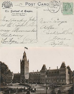 GB CRYSTAL PALACE 2 Imperial Exhibition Flag Cancel Canada Pavilion RPPC 1911