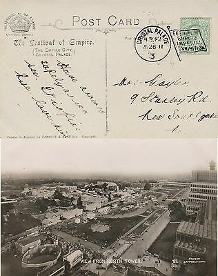 GB CRYSTAL PALACE 3 EVII Empire Imperial Exhibition Flag Cancel RPPC 1911