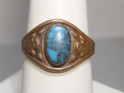Vintage Bell Trading Solid Copper & Turquoise Ring! Sz 9