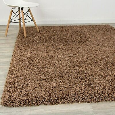 Cosy Dark Beige Soft Fluffy Shaggy Rugs Modern Carpets Rug Small to Extra Large