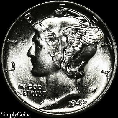1942 Mercury Dime 10c ~ BU Uncirculated ~ 90% Silver US Coin