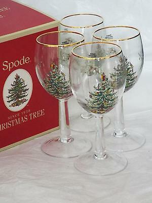 SET Of 4 Spode Christmas Tree Xmas WINE GLASSES With Gold Rim New & Boxed