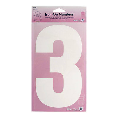 Hemline Iron-On Number 3 Suitable for Sport, dance, and Gym Wear | 10cm