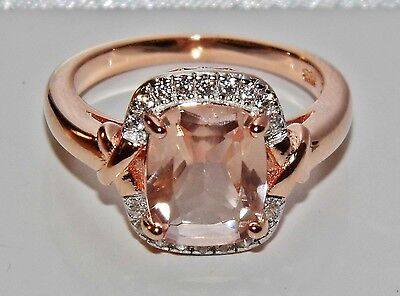 Beautiful 9ct Rose Gold on Silver Morganite & Simulated Diamond Ring - size P