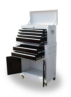 385 Us Pro Tools Mechanics Tool Chest Box Roller Cabinet 8 Drawers White Black