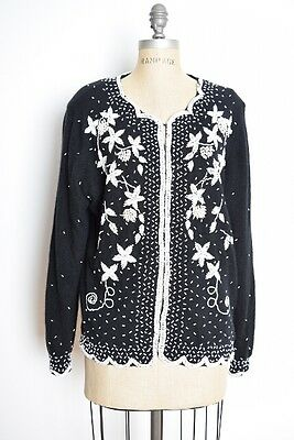 vintage 80s 50s sweater black wool white beaded sequin cardigan jumper top XL