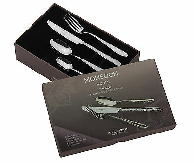 Monsoon Mirage 24 Pce Cutlery Set 6 Place Settings Arthur Price Stainless Steel