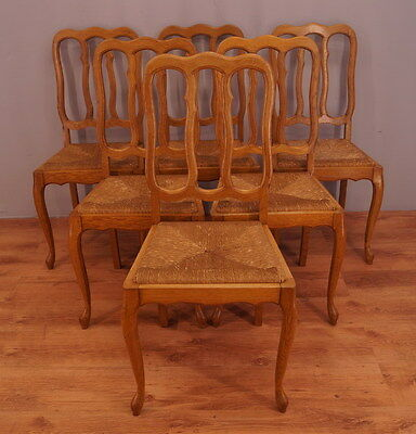 1184 !! Amazing Oak Set Of 6 Chairs In Louis Xv Style  !!