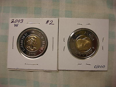2003-W Canada 2 dollar coins-prooflike-lot of two