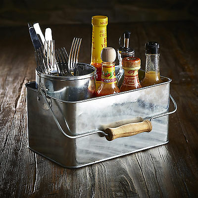 Genware Galvanised Steel Rectangular Table Caddy | Tidy for Sauces, Cutlery