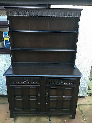 Vintage Dark Oak Priory Dresser Display Cabinet Cupboard And Drawers
