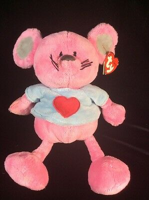 """Ty Classic Patter Pink Heart Mouse Plush Soft Toy Tags Stuffed Animal 2005 10"""""""