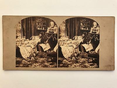 """Early Stereoview 1850s """"Five Weeks After Marriage"""""""
