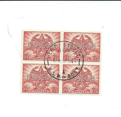 1946 PEACE AUSTRALIAN BLOCK OF 4 CANCELLED 2 1/2d STAMPS