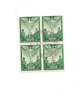1946 PEACE AUSTRALIAN BLOCK OF 4 CANCELLED 5 1/2d STAMPS