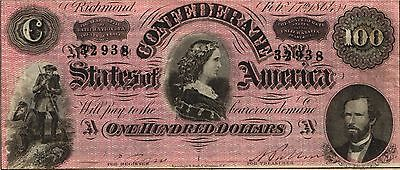 "1864 $100 Confederate States of America ""LUCY PICKENS"" RED T-65 Circulated VF"