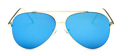 Metal Frame Aviator Sunglasses + Pouch Gold with Blue Mirror Lens 757