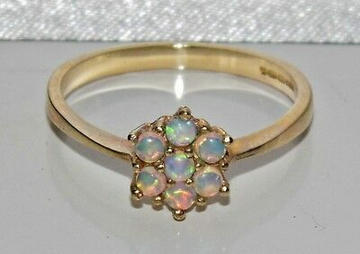 9ct Yellow Gold Natural Opal Cabochon Daisy Cluster Ring - size O