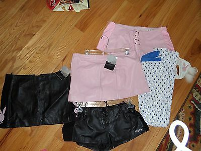 Lot of Women's Leather Playboy Skirts, Lace Up Shorts, Panties, NWT Sz XL 4, 8