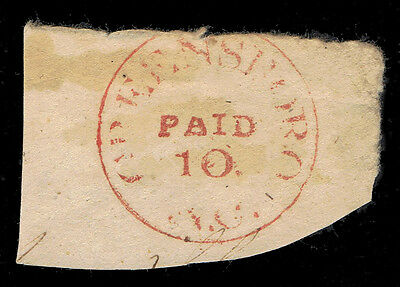 -Read- Confederate Scott #32Xu1 Greensboro Paid 10 Hand Stamped Envelope Corner