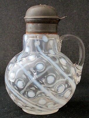 Northwood Glass  white opalescent COINSPOT AND SWIRL syrup EAPG
