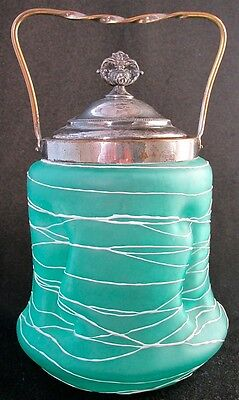Bohemian art glass white random threaded green biscuit jar