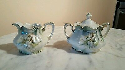 Porcelain RS Prussia Red Mark Sugar & Creamer Lily Of The Valley Motif