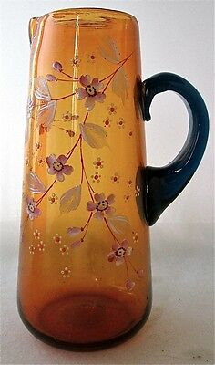 "Bohemian art glass enameled amber blue tankard pitcher, 9 3/8"" h."